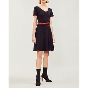 SANDRO Fit-And-Flare Stretch-Knit Navy Dress 34